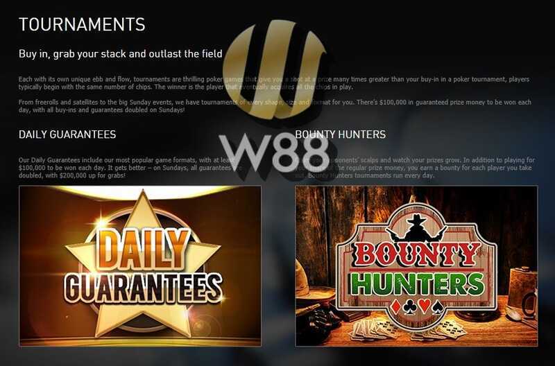 W88 Poker Tournaments Available Now